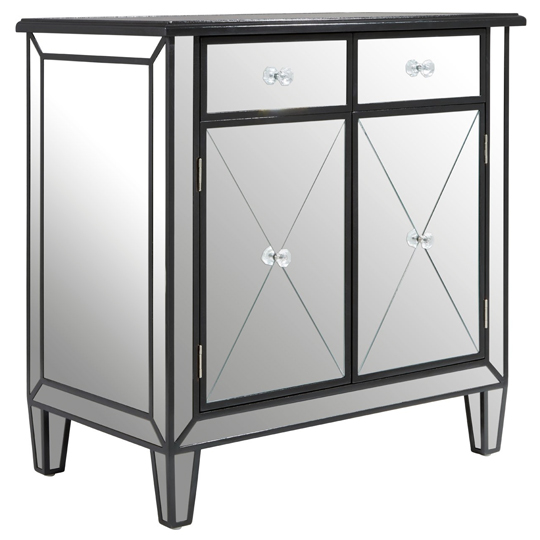 Kentaurus Mirrored Side Board In Silver With 2 Drawers   _3