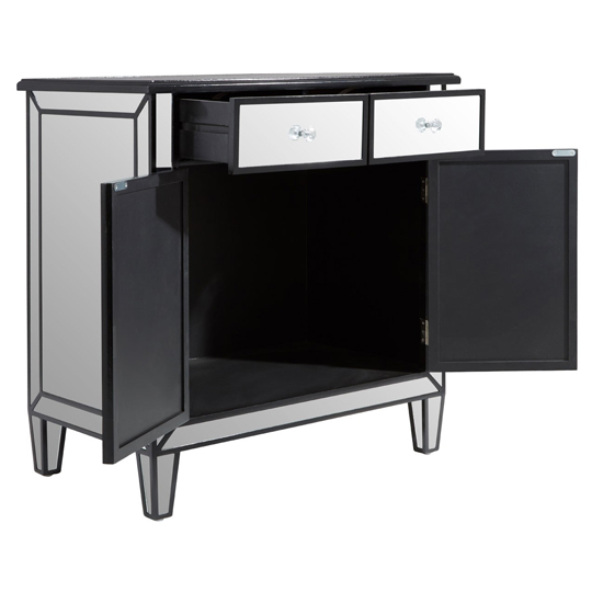 Kentaurus Mirrored Side Board In Silver With 2 Drawers   _4