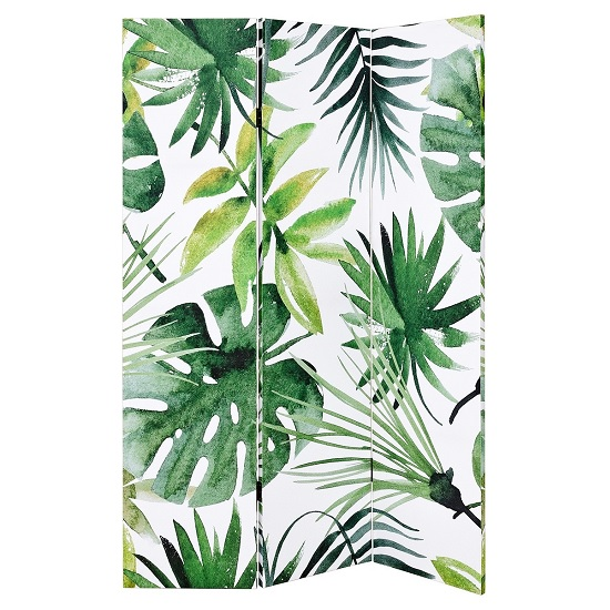 Tiffany Canvas Room Divider Double Sided In Palm Leaves