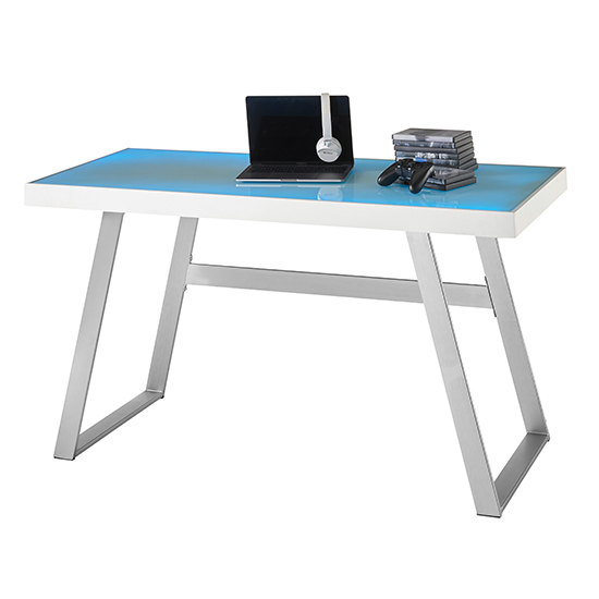 Tiflis Glass Top Computer Desk In Matt White With LED Lighting_2