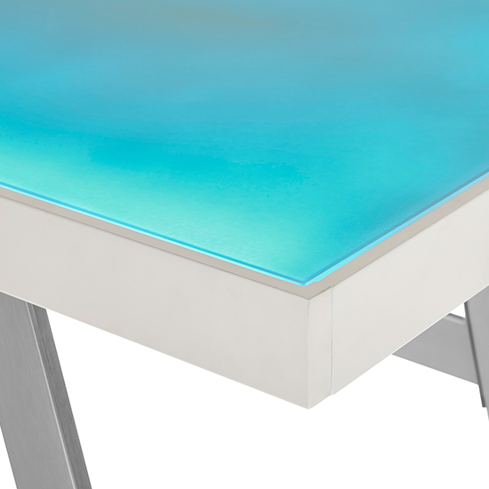 Tiflis Glass Top Computer Desk In Matt White With LED Lighting_4