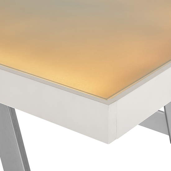 Tiflis Glass Top Computer Desk In Matt White With LED Lighting_5