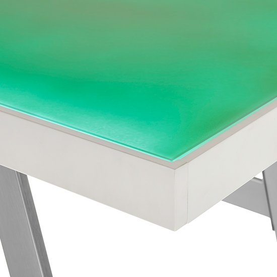 Tiflis Glass Top Computer Desk In Matt White With LED Lighting_6