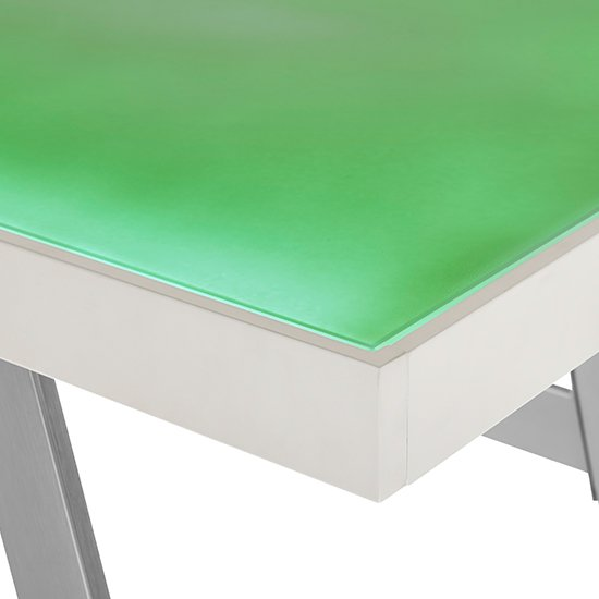 Tiflis Glass Top Computer Desk In Matt White With LED Lighting_7