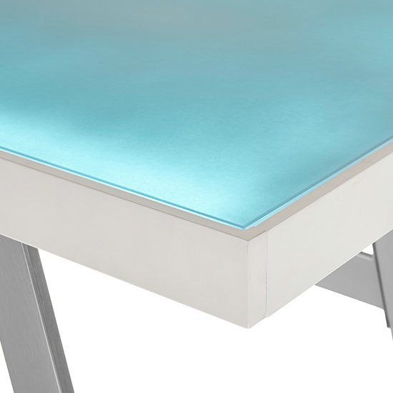 Tiflis Glass Top Computer Desk In Matt White With LED Lighting_8