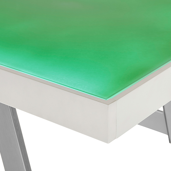 Tiflis Glass Top Computer Desk In Matt White With LED Lighting_9