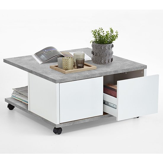 Tifton Wooden Storage Coffee Table In Concrete Effect And White Gloss