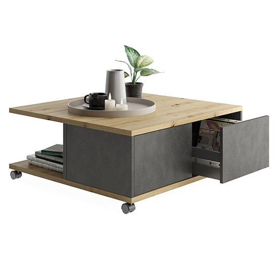 Tifton Wooden Storage Coffee Table In Artisan Oak And Matera