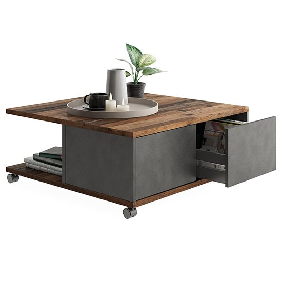 Tifton Wooden Storage Coffee Table In Old Style Dark And Matera