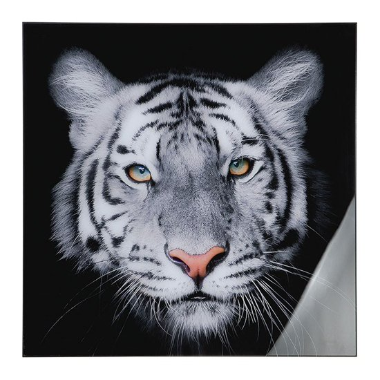 Tiger Head Picture Acrylic Wall Art In Black And White