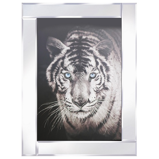 Tiger Head Modern Glass Wall Art On Mirror Frame