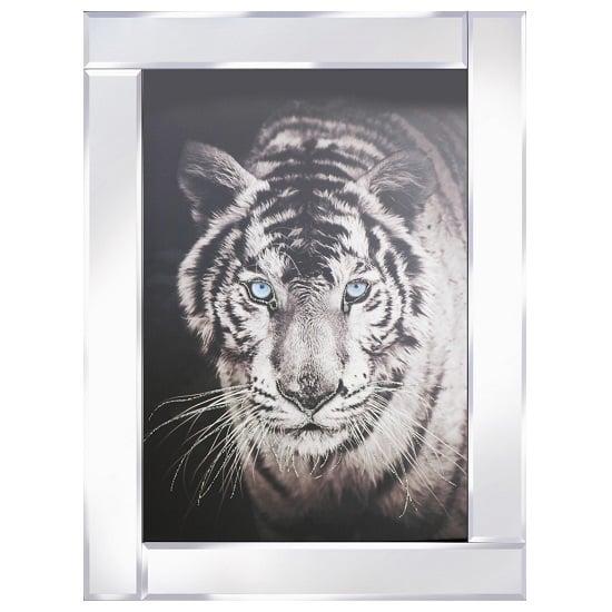 View Tiger head modern glass wall art on mirror frame