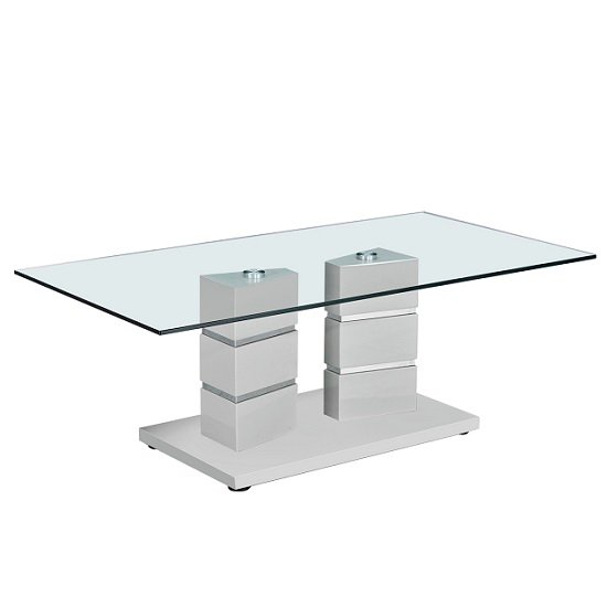 Tilda Glass Coffee Table In Clear With Light Grey Gloss Base