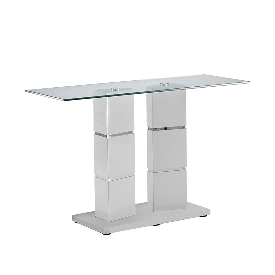 Tilda Glass Console Table In Clear With Light Grey Gloss Base