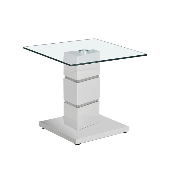 Tilda Glass End Table In Clear With Light Grey Gloss Base