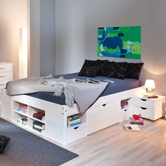 Till Wooden Storage Double Bed In White