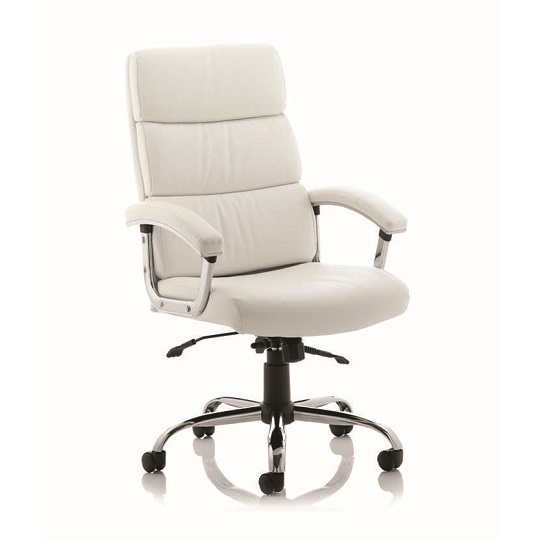 Tillie Bonded Leather Executive Chair In White With Chrome Base