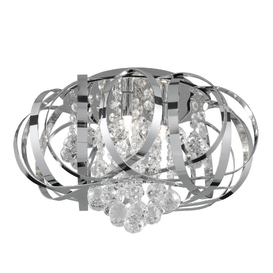 Tilly 3 Light Ceiling Flush In Chrome And Clear Glass Balls