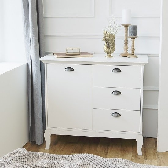 Tilton Wooden Compact Sideboard In White With 3 Drawers
