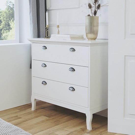 Tilton Wooden Chest Of Drawers In White With 3 Drawers