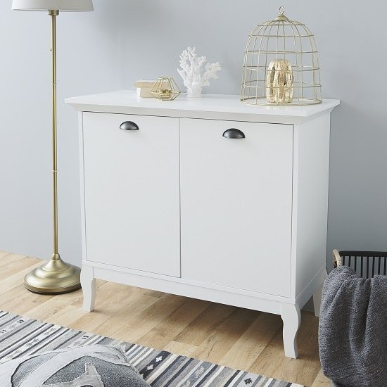 Tilton Wooden Storage Cabinet In White With 2 Doors