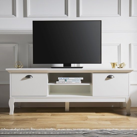 Tilton Wooden TV Stand In White With 2 Doors