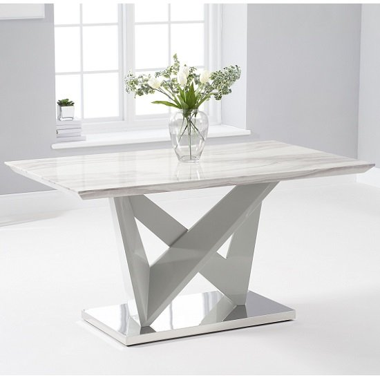 Timon High Gloss Marble Effect Dining Table In Light Grey_1