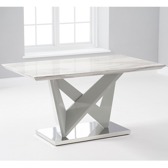 Timon High Gloss Marble Effect Dining Table In Light Grey_2