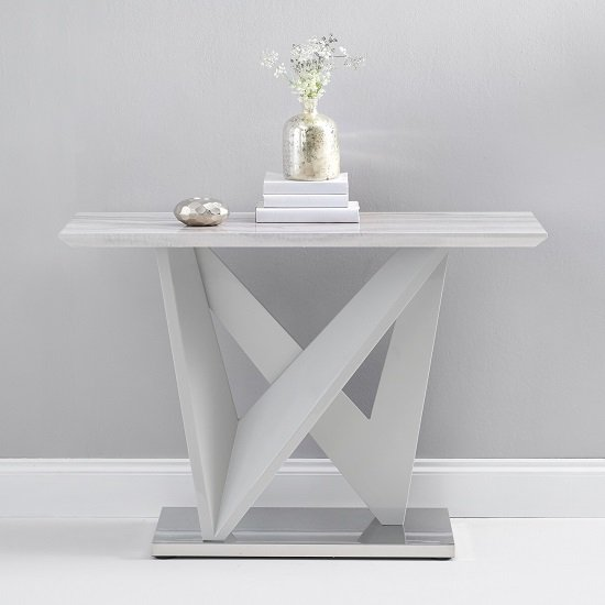 Timon High Gloss Marble Effect Console Table In Light Grey_1