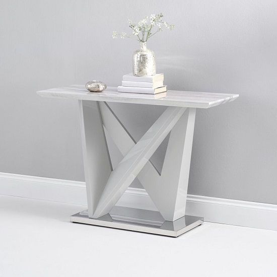 Timon High Gloss Marble Effect Console Table In Light Grey_2