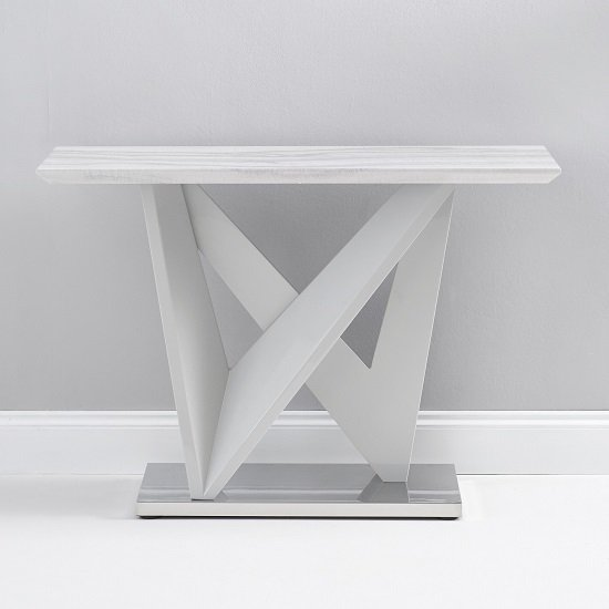 Timon High Gloss Marble Effect Console Table In Light Grey_3