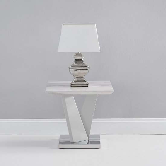 Timon High Gloss Marble Effect Lamp Table In Light Grey_1