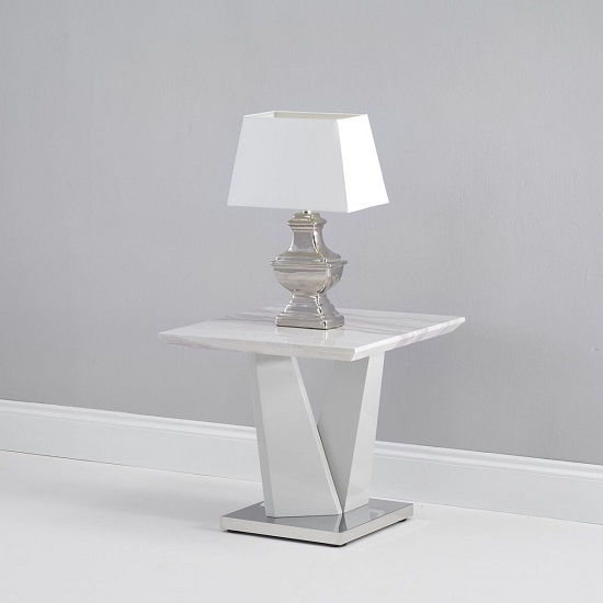 Timon High Gloss Marble Effect Lamp Table In Light Grey_2