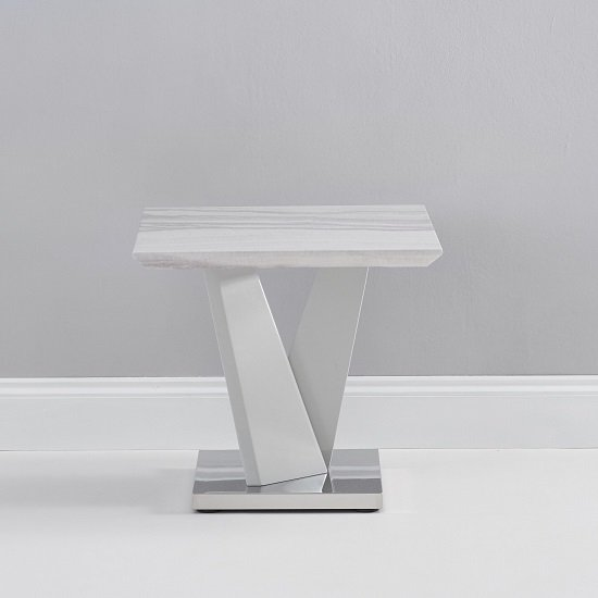 Timon High Gloss Marble Effect Lamp Table In Light Grey_3
