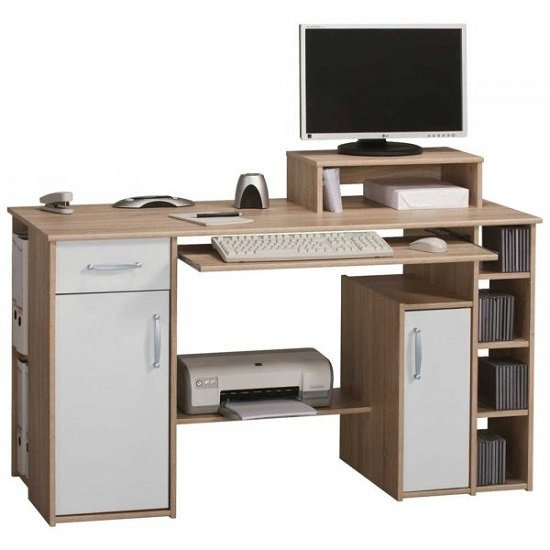 Tishe Sonoma Oak Computer Work Station With Storage