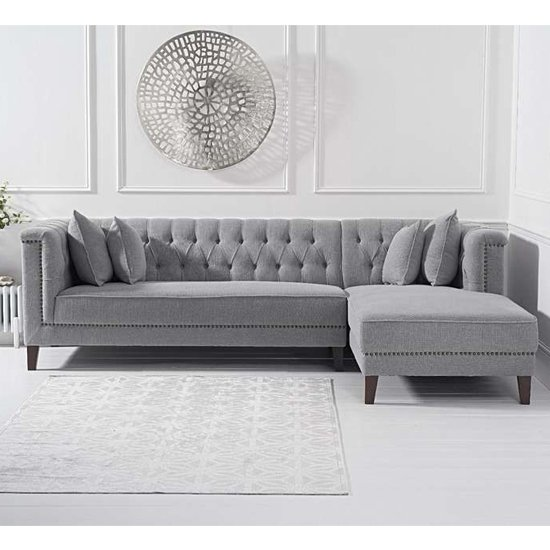 Tislit Linen Right Facing Chaise Corner Sofa In Grey