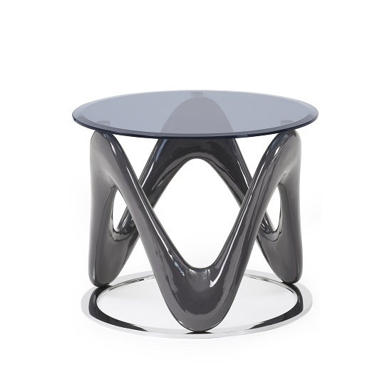 Titan Glass End Table In Grey High Gloss With Chrome Ring