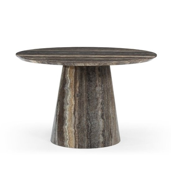 Image of Titan Marble Dining Table Circular In Natural Tones Travertine