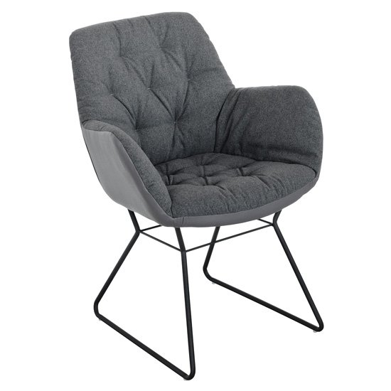 Titania Grey Two Tone Faux Leather Dining Chairs In Pair_2