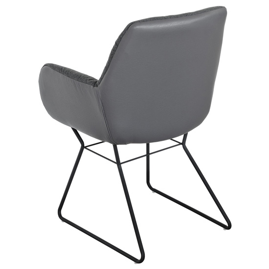 Titania Grey Two Tone Faux Leather Dining Chairs In Pair_3