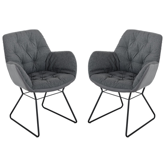 Titania Grey Two Tone Faux Leather Dining Chairs In Pair_1