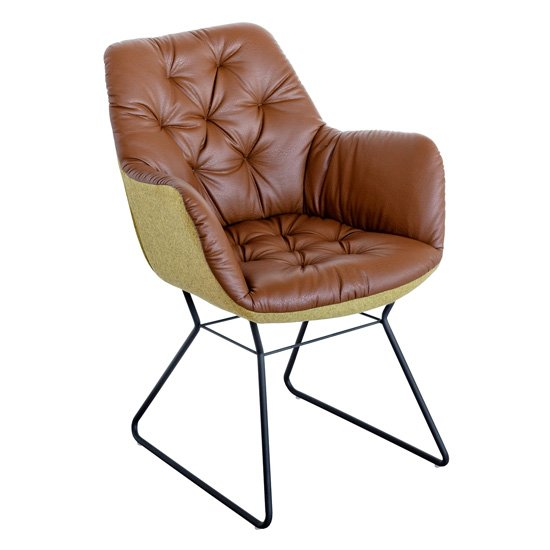 Titania Two Tone Faux Leather Dining Chair In Brown