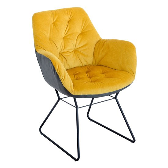 Titania Two Tone Faux Leather Dining Chair In Yellow