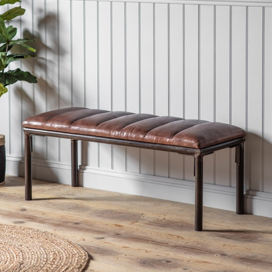 Tiverlake Faux Leather Hallway Seating Bench In Brown