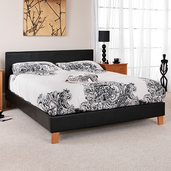 Tivoli Black Faux Leather Small Double Bed_1