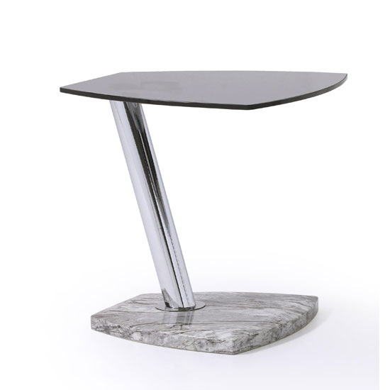 Product photograph showing Tivoli Glass End Table In Tinted With Marble Grey Gloss Base