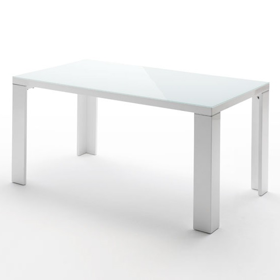 Tizio Glass Dining Table Rectangular With White High Gloss Legs