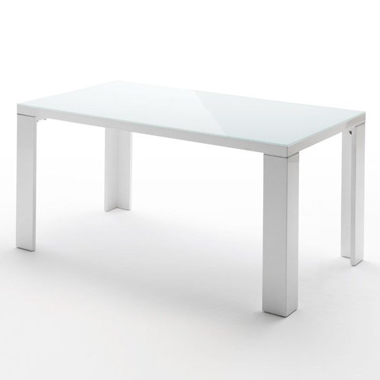 Tizio glass top dining table in white high gloss 140cm - White table with glass top ...