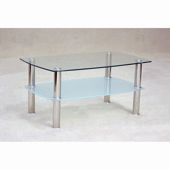 Pearl Rectangular Coffee Table In Clear Glass With