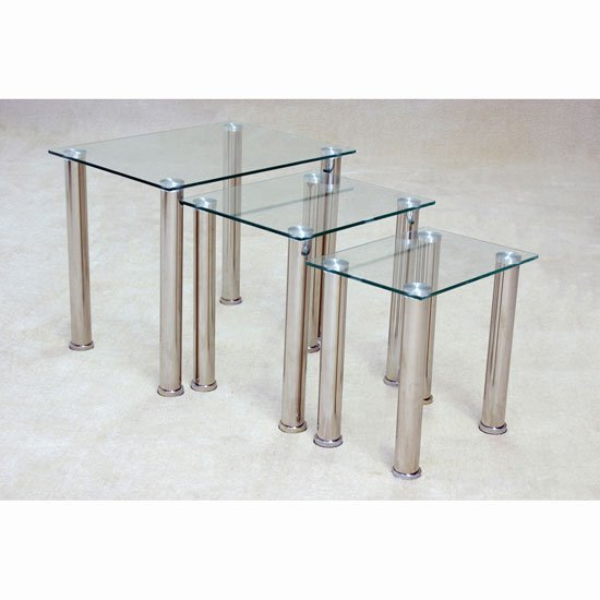 Pearl Nesting Tables In Clear Glass With Chrome Base - Clear nesting tables